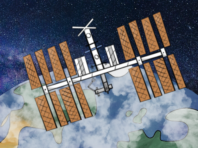 Cartoon of the International Space Station