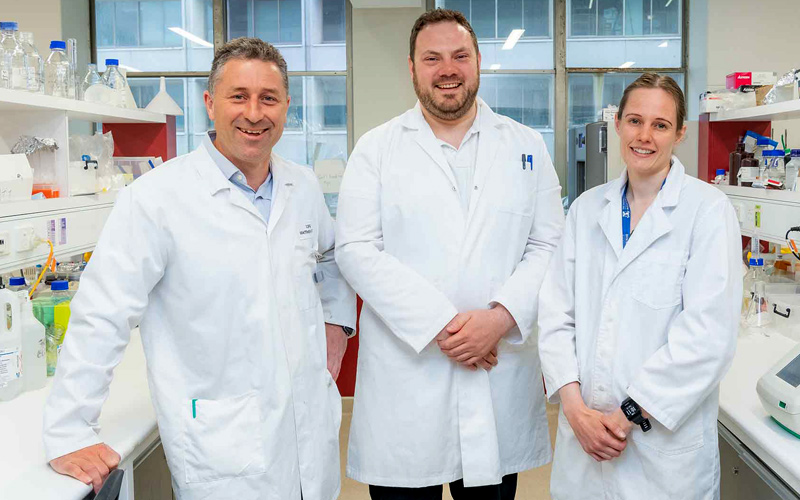 Professor Matthew Watt, Dr Garron Dodd and Dr Paula Miotto in a laboratory